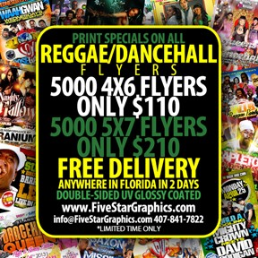 5x7 Flyers<br>Free Shipping in Florida REGGAE